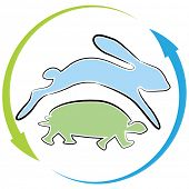 stock photo of the hare tortoise  - An image of a tortoise hare race cycle - JPG