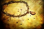 foto of thorns  - Crown of thorns with blood over textured background - JPG