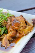 image of pork belly  - close up braised pork belly chinese style cuisine