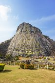 image of chan  - 130 mtr high Buddha laser carved and inlayed with gold on Khao Chee Chan Cliff Sattahip Chonburi province Thailand - JPG