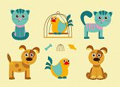 pic of bird-dog  - Set of cute little pets cats and dogs - JPG