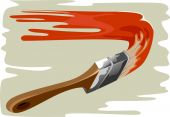 picture of paint brush  - Illustration of paint brush and  wall to paint - JPG