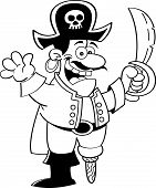 stock photo of peg-leg  - Black and white illustration of a pirate holding a sword and waving - JPG