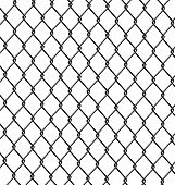 stock photo of chain link fence  - Vector Illustration of metal chain link fence - JPG