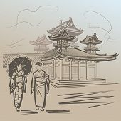 picture of japan girl  - Japanese girls walking near temple in Japan - JPG