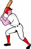 foto of hitter  - Illustration of an american baseball player batter hitter batting with bat done in cartoon style isolated on white background - JPG