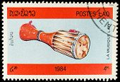 LAOS-CIRCA 1984: A stamp printed in the Laos, depicts a musical instrument (drum), circa 1984