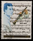 NORTH KOREA - CIRCA 1987: A stamp printed in North Korea shows Maurice Ravel (1875-1937), series Fam