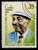 CUBA - CIRCA 2007: A stamp printed in cuba dedicated to authors and singers of Cuban son, shows Migu
