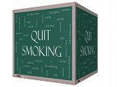 Quit Smoking Word Cloud Concept On A 3D Cube Blackboard