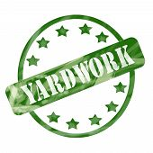 Green Weathered Yardwork Stamp Circle And Stars poster