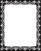 picture of scrollwork  - Black and white repeating floral scrollwork border frame - JPG