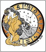 pic of virgo  - Virgo zodiac sign. The girl in the Greek chiton and flowing hair