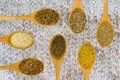 picture of fenugreek  - Set of spices on white leaf - JPG