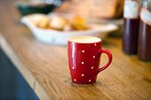 image of whole-grain  - Cappuccino coffee cup closeup at the table