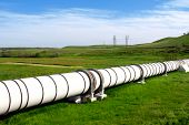 foto of gas-pipes  - Industrial white pipe for gas and oil - JPG