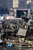 KIEV, UKRAINE - February 21, 2014: Ukrainian revolution, Euromaidan after an attack by government fo