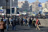 KIEV, UKRAINE - February 21, 2014: Ukrainian revolution, Euromaidan. Manifestation after an attack b
