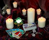 picture of fortune-teller  - my tarot cards with candles and crystals - JPG