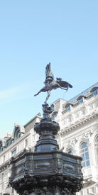 pic of ero  - Piccadilly Circus with statue of Anteros aka Eros in London UK - JPG