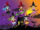 foto of night-blooming  - Cute Witches Riding on a Broom in Halloween night - JPG