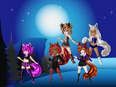 picture of wolf moon  - Wolf girls dressing fashionably for fancy night - JPG