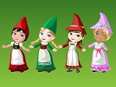 foto of gnome  - Gnome girls in native outfit on green background - JPG