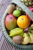 pic of dragon fruit  - basket of fresh tropical fruits  - JPG
