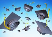 foto of graduation cap  - graduation hats in the air  university college isolated on white background - JPG