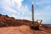stock photo of mines  - Drilling holes in a coal mine excavator - JPG
