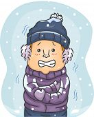 picture of cold-weather  - Illustration of a Man in Winter Clothes Shivering Hard Because of the Cold - JPG
