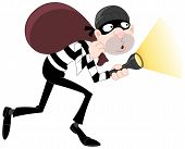 pic of sneak  - Vector illustration of a sneaking thief carrying a sack - JPG