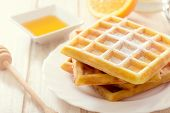 pic of icing  - Sweet Belgian waffles with sugar icing - JPG