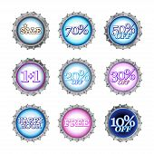 stock photo of top-less  - illustration of bottle caps set with different kind of sales - JPG
