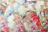 image of shekel  - Various Israeli shekel notes background image including 200 - JPG