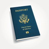 stock photo of passport cover  - vector blue leather USA passport - JPG
