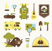 foto of boy scouts  - camping vector icons flat style illustration cute - JPG