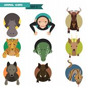 stock photo of chimp  - Animal avatars set with flat design - JPG