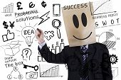image of anonymous  - Anonymous businessman is writing success concept on transparent whiteboard - JPG