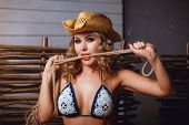 stock photo of scourge  - Girl in bikini and cowboy - JPG