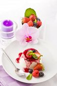 image of panna  - photo of delicious panna cotta dessert with berries - JPG