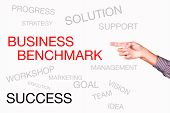 stock photo of benchmarking  - business benchmark and other related words handwritten on whiteboard with hands - JPG