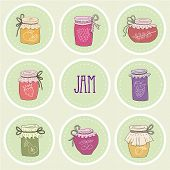 stock photo of jar jelly  - The set of hand drawn jars with home - JPG