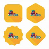 foto of wreckers  - Transportation Tow Truck Flat Icon With Long Shadow - JPG