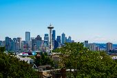 pic of washington skyline  - Seattle skyline with Mount Rainier in the background - JPG