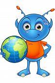 pic of alien  - A cartoon illustration of a cute little light blue alien character - JPG