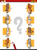 stock photo of brain teaser  - Cartoon Illustration of Education Halves Matching Game for Preschool Children - JPG