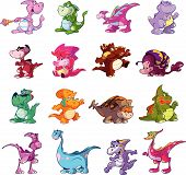 stock photo of dinosaurus  - collection of cute funny colorful cartoon dino - JPG