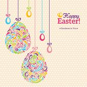 picture of easter eggs bunny  - Easter eggs in doodle minimalism style with place for your text - JPG