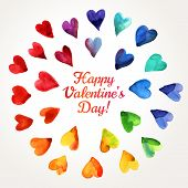 picture of happy day  - Watercolor Happy Valentines Day Hearts Cloud - JPG